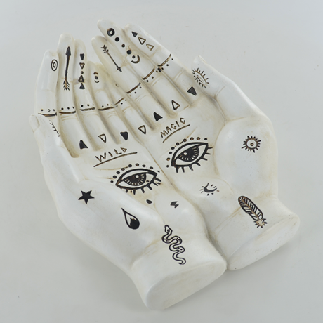 Palmistry cupped hands with eyes