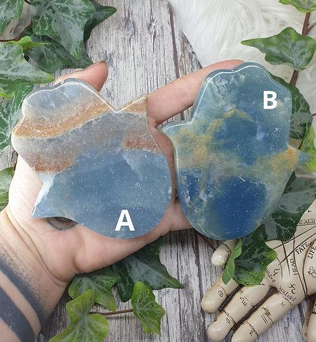 Aquatine Lemurian calcite Hamsa