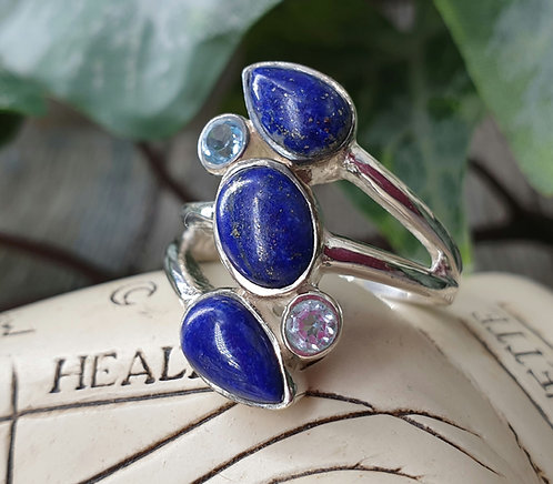 Lapis and topaz ring