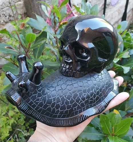 Obsidian Snail Skull