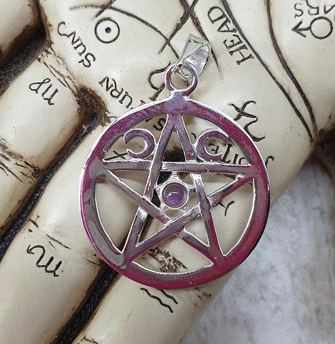 Silver pentagram Amethyst pendant