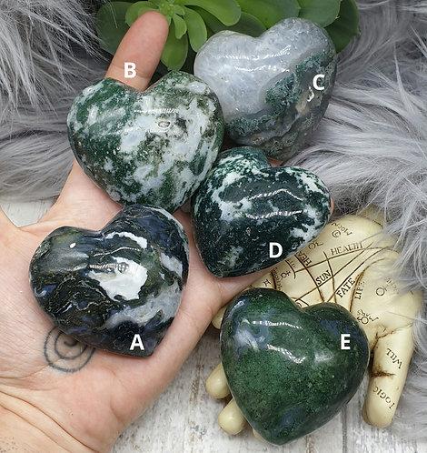 Moss Agate Puff Heart