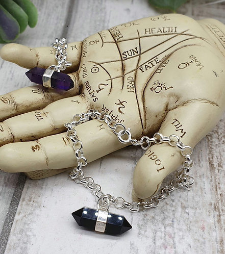 Gemstone point bracelet
