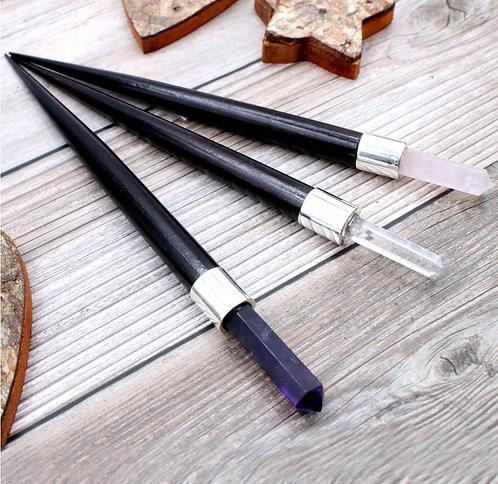 Wooden gemstone wand