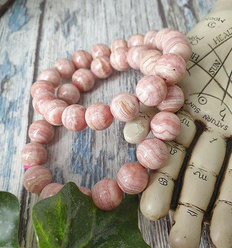 Large Rhodochrosite bead bracelet