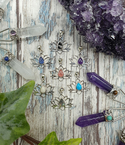 Silver lotus and Gemstone