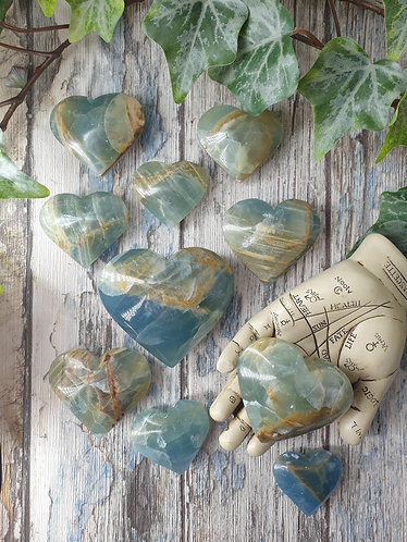 Aquatine Lemurian calcite heart