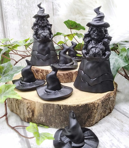 Black obsidian witchy carvings