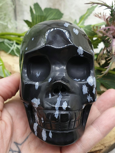 Snowflake Obsidian Skull