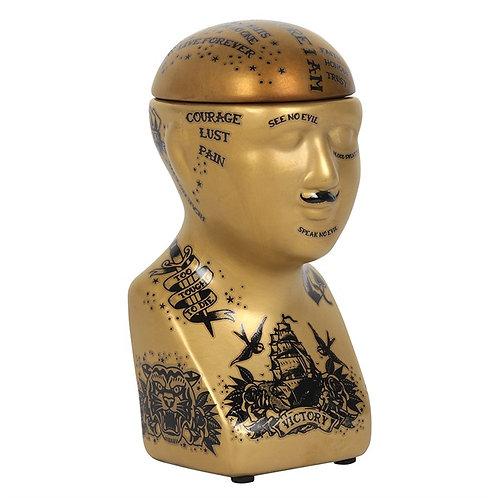 Gold Phrenology head storage