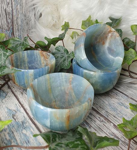 Aquatine Lemurian calcite bowl