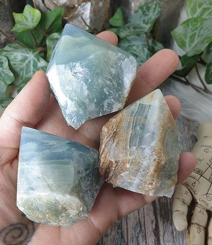 Part polished Aquatine Lemurian calcite