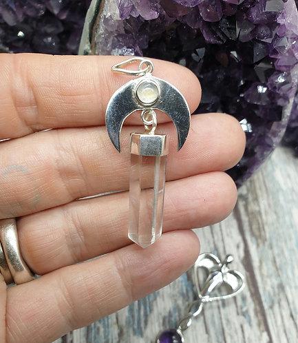 Moonstone and quartz pendant