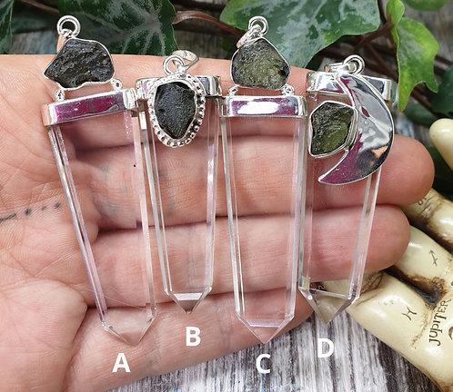 Moldavite with quartz