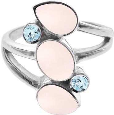 Rose quartz & blue topaz ring