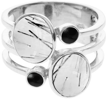 Tourmaline quartz with black onyx ring