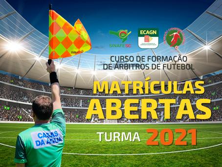 TURMA 2021: Abertas as inscrições para novo curso de formação de árbitros de futebol