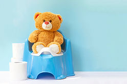 Teddy bear on a children's pot; the conc
