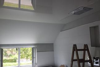 Spannfolie mit eingebauten Downlights in einem privaten Badezimmer, inklusive Lautsprechern und Duschkopf