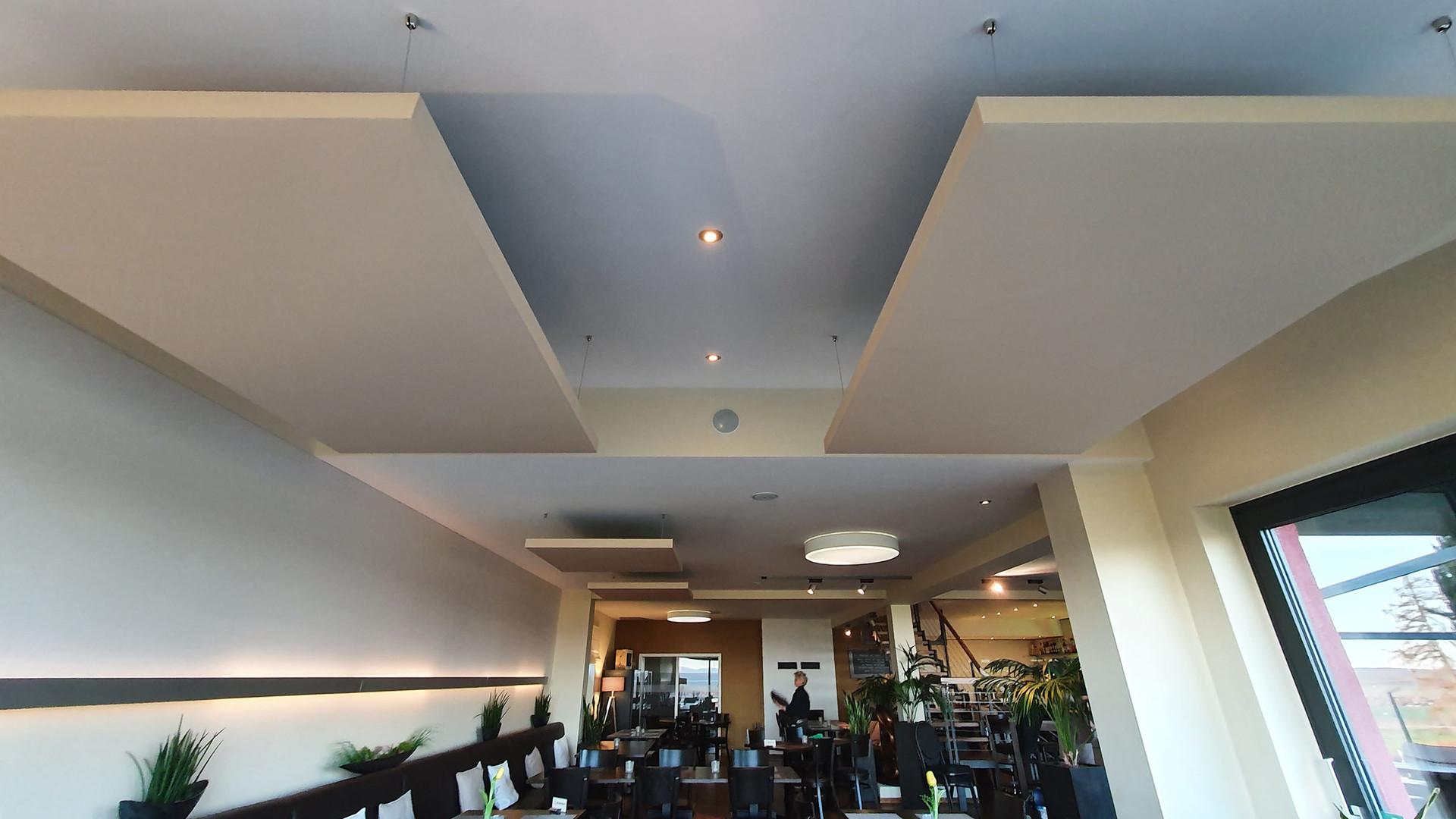 Restaurant am Weinberg - abgehängte Akustikelemente
