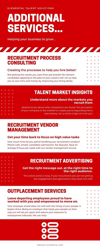 Elemental provides recruitment marketing services. Recruitment process consulting. Recruitment agency vendor management services. Talent pooling. Salary comparisons. Outplacement Services in Dundee Edinburgh Glasgow Aberdeen Perth Scotland