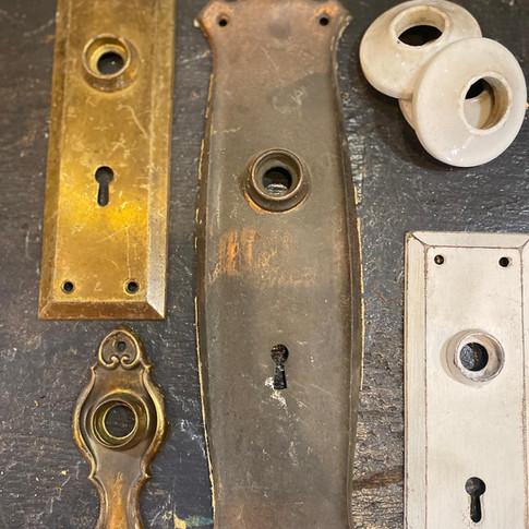 Antique door back plates