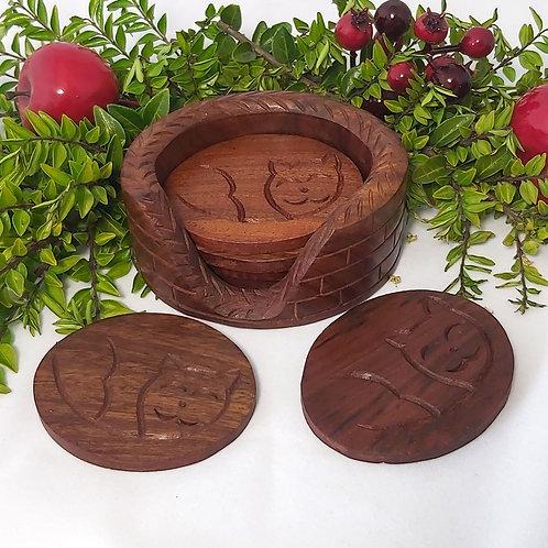 Mango Wood Cat 6 Coaster Set