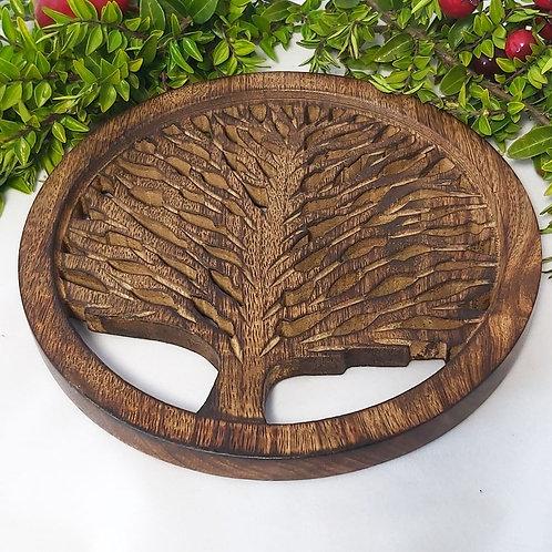 Trivet Tree of Life Mango Wood