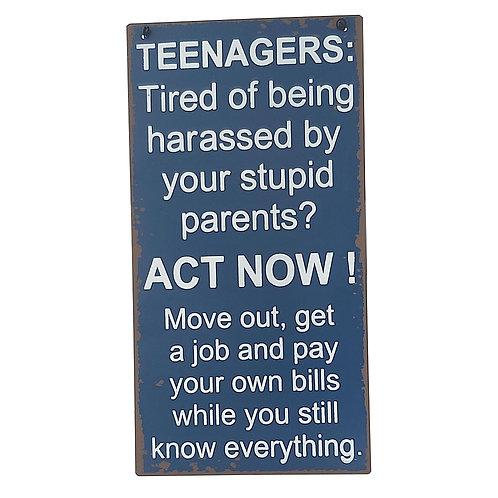 """Teenagers"" Retro Wall Sign"