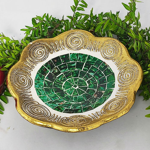 Gold Coloured Round Plate - Green Mosaic 19cm
