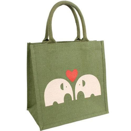 Elephants with Heart Jute Bag