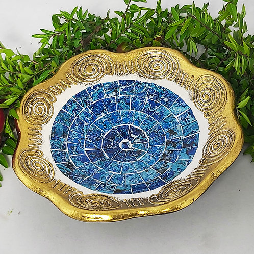 Gold Coloured Round Plate - Blue Mosaic 19cm