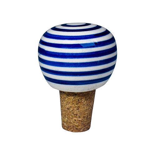 Cork wine bottle stopper, round, white with blue stripes