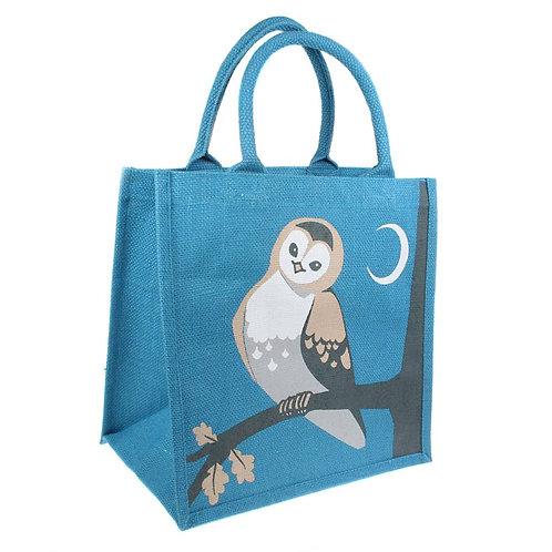 Owl on Branch Jute Bag