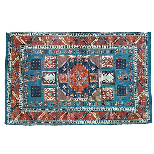 Rug made from recycled plastic 90 x 150cm blue border