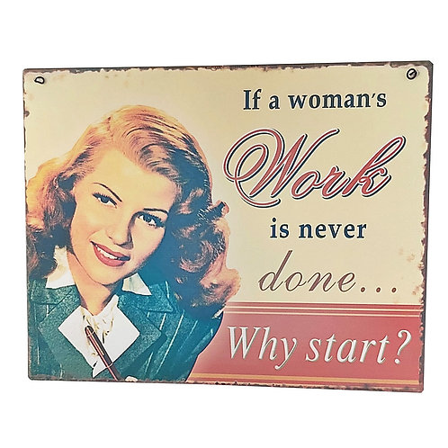 """""""Womans Work"""" Retro Wall Signs"""