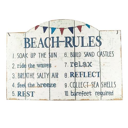 """Beach Rules"" Retro Wall Sign"