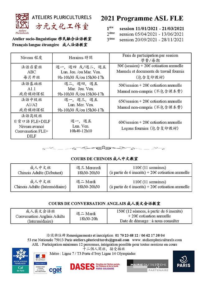2021  programme de cours linguistiques(S