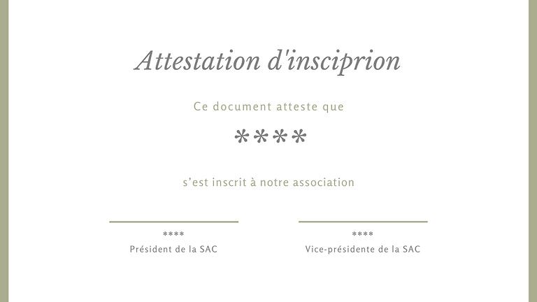 Attestation d'inscription 学时证明