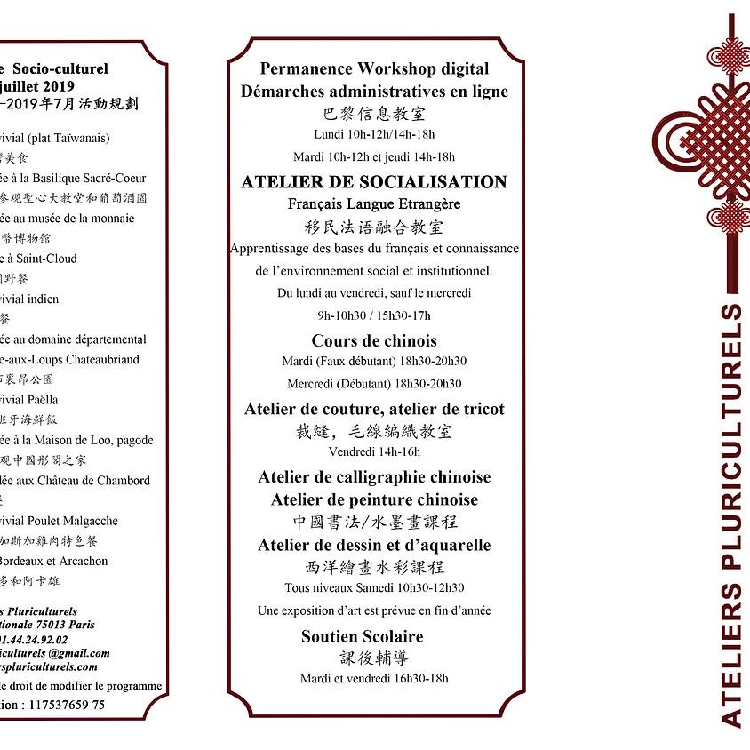 Nouveau programme Socio-culturel Novembre Avril-Juillet 2019