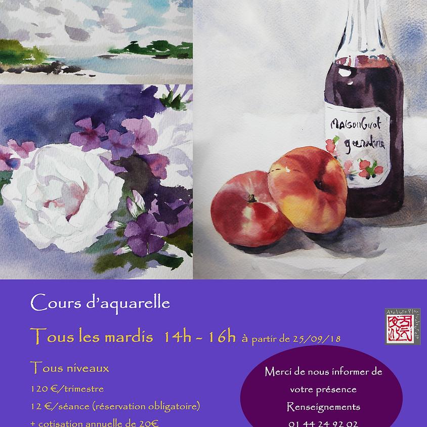 Cours d'aquarelle  De 14h à 16h 水彩课程