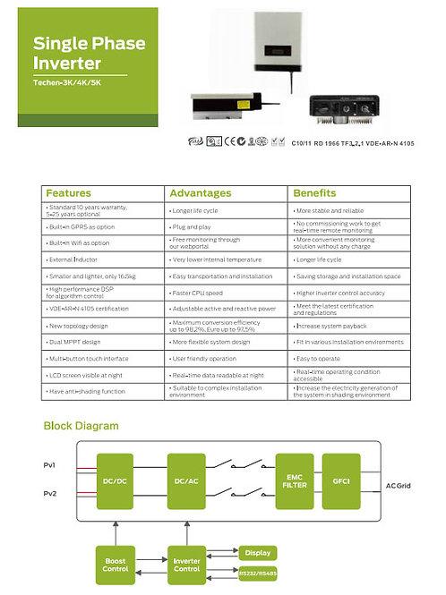 Kit Mono Inversor TECHEN 3,2kWp; 12Painéis;  453KWh/mês