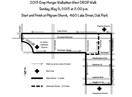 Map of the Route for our 2013 Crop Walk