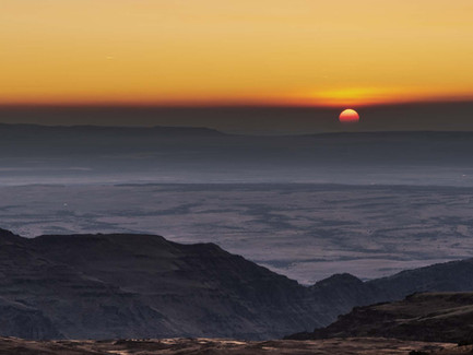 Steens Mountain, Eastern Oregon Desert - A Beautiful Hazy Sunset from the Top