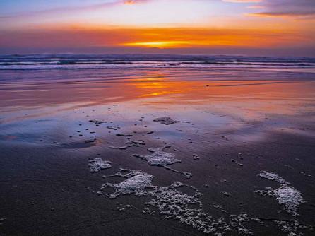Oregon Coast - Sunset Reflecting on the Sand