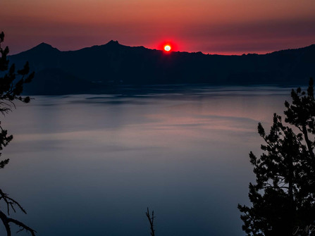 Crater Lake National Park - Deep Blue with Red Sunset
