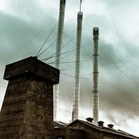Bend Oregon - Historic Smokestacks at the Old Mill Buildings