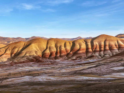 Painted Hills Oregon - Panorama at Sunset in Central Oregon Desert