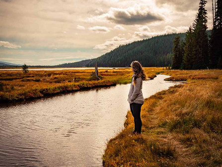 Sparks Lake, Bend Oregon - Person Watching Stormy Skies