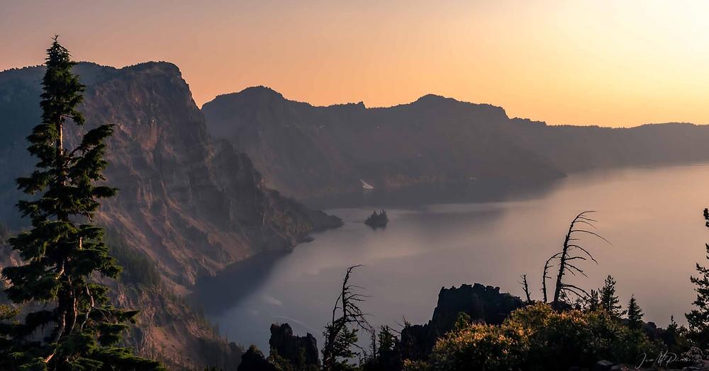 Golden sunset over Crater Lake, Oregon